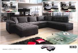 meubles et canapes cuisine canape en u convertible left niko noir gris fonce chine