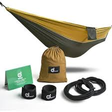 odoland large single camping hammock with mosquito net pop up