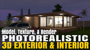 how to make photorealistic 3d house exterior and interior in
