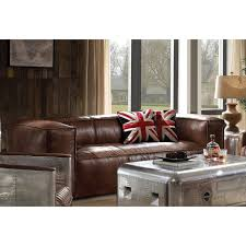 Acme Living Room Furniture by Acme 53545 Brancaster Retro Brown Leather Aluminum Sofa U2013 G Crew