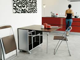 modern portable folding dining table with wheels and folding chair