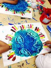 smart class earth day finger painting