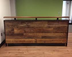 Metal Reception Desk 214 Stand Up Desk Barnwood Steel Legs Metal Legs