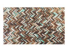 Cowhide Rug Patchwork Rug Carpet Cowhide Rug Patchwork 140x200 Cm Brown Blue