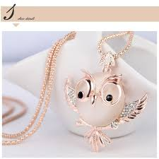 crystal owl necklace images Trendy chubby owl necklace crystal jewelry jpg