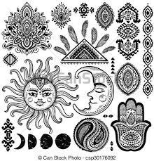 eps vectors of sun moon and ornaments vintage vector set sun
