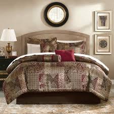 Red Gold Comforter Sets Mainstays 7 Piece Jacquard Comforter King Bedding Set Burgundy