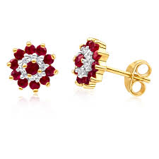 ruby stud earrings 9ct yellow gold diamond ruby stud earrings 11250502