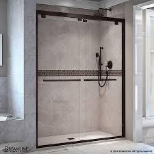 bathroom frameless glass shower doors with rain shower set and