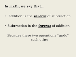 inverse relationship between addition u0026 subtraction