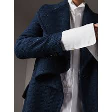 herringbone wool cashmere tweed asymmetric coat in navy women