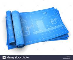 blueprints of house 3d illustration of rolled blueprints of house stock photo royalty