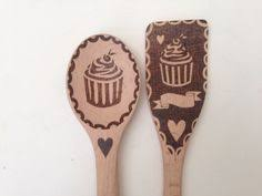 personalized pyrography wolf moon spoon and spatula set