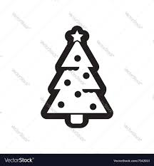 flat icon in black and white christmas tree vector image