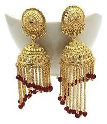 gold earrings jhumka design indian gold plated dangle jhumka earrings traditional