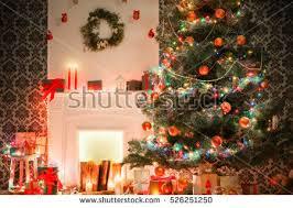 christmas living room decorations beautiful xmas stock photo