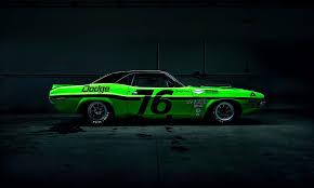 Dodge Challenger Green - dodge challenger green american muscle car side race dark hd wallpaper