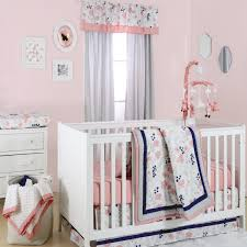 Bright Crib Bedding Floral Dot Crib Starter Set In Coral Navy