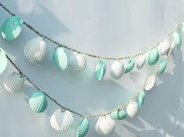 seashell garland beach wedding decoration mint green and white