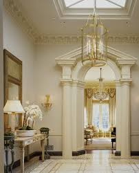 formal molding and columns entry traditional with crown molding