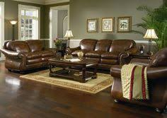 Dekalb Premium Leather Piece Sectional Warm Colors Dark - Living room design with brown leather sofa