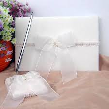 wedding guest register wedding guest book register pen set ivory ribbon bow pearl stub