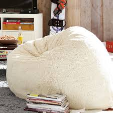 ivory sherpa faux fur beanbag pbteen