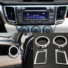 4pcs for toyota 2013 2016 rav4 chorme dashboard air vent cover