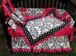 Damask Crib Bedding Sets Black White Polka Dot Damask Pink Crib Bedding Set