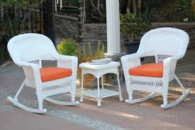 3 piece ariel white resin wicker patio rocker chairs and table