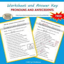 pronoun antecedent identification worksheet by bibliofiles tpt