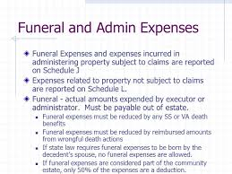 funeral expenses estate deductions elections and payments of tax ppt
