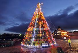 Christmas Tree Made Of Christmas Lights - lobster ports create christmas trees from traps portland press