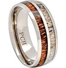 Deer Antler Wedding Rings by Natural Deer Antler Ring With Koa Wood Inlay Mens Band Womens