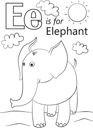 letter elephant coloring free printable coloring pages