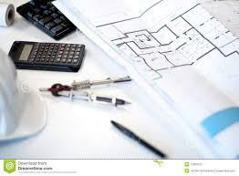 desk of an architect stock photography image 13339122