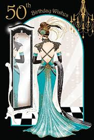 art deco lady 50th birthday wishes card amazon co uk office