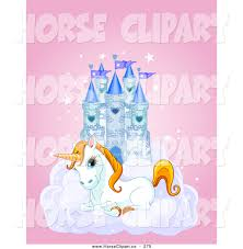 clip art of a cute white unicorn resting on a cloud in front of a