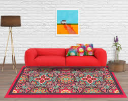 Red And Turquoise Area Rug Mexican Rug Etsy