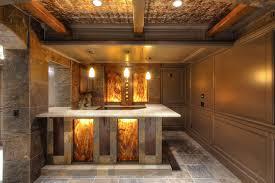 basement amazing basement bar decoration with cream stone kitchen