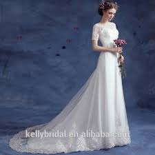 Affordable Wedding Gowns Zm 16116 Wedding Dresses Clearance With Half Sleeve And High Neck