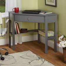 glass corner study desk grey wall paint color cream maple wood