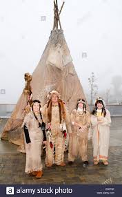 local residents many of them native american wear traditional
