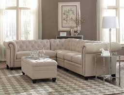 roy oatmeal linen traditional sectional with tufted rolled arms
