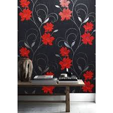 grey wallpaper with red flowers wallpaper floral textured glitter effect metallic silver black grey red