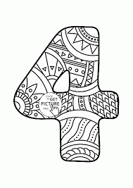 pattern number 4 coloring pages for kids counting numbers