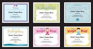 yoga certificates templates yoga instructor awards yogi
