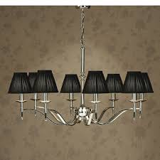 Chandelier With Black Shades Stanford Nickel 8 Light Chandelier Black Shades New Classics