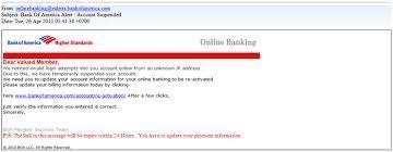 Spam Alert Phishing Email Scam Titled Bank Of America Alert