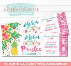 printable gold pineapple and luau birthday invitation pink mint